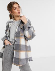 Удлиненная куртка-рубашка в клетку серого цвета -Многоцветный Pieces 11466241