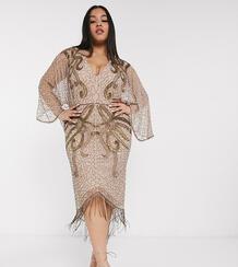 Платье миди с широкими рукавами и вышивкой бисером ASOS DESIGN Curve-Коричневый Asos Curve 9833823