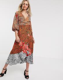 Атласное платье макси с запахом и цветочным/звериным принтом -Многоцветный Liquorish 8970805