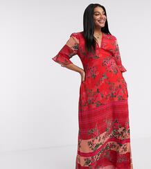 Эксклюзивное красное платьес рукавами клеш-Красный Hope & Ivy Plus 9760681