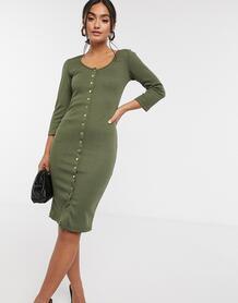 Платье цвета хаки на пуговицах -Зеленый цвет Liquorish 10468284