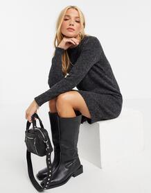 Черное меланжевое платье-джемпер мини -Черный Vero Moda 10333343