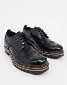 Черные блестящие ботинки-броги Сolver-Черный Base London 10179914