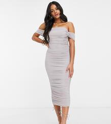 Серое эксклюзивное платье мидакси с драпировкой -Серый Jaded Rose 10541626