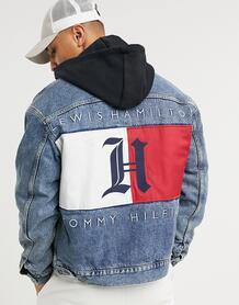 Джинсовая куртка в стиле oversized выбеленного цвета индиго с логотипом на спине и капюшоном x Lewis Hamilton-Синий Tommy Hilfiger 10522336
