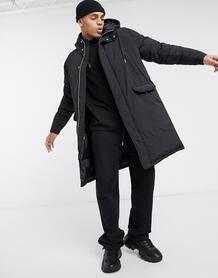 Серая дутая куртка-парка -Черный ASOS DESIGN 10469496