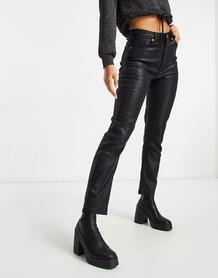Черные джинсы прямого кроя с завышенной талией и покрытием -Черный NA-KD 10888447