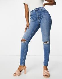 Синие рваные джинсы скинни из органического хлопка с завышенной талией -Голубой NA-KD 11098345