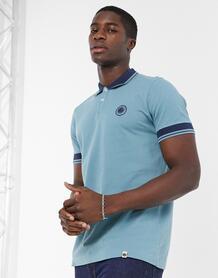 Голубая рубашка-поло из пике с логотипом и окантовкой -Голубой Pretty Green 10118604