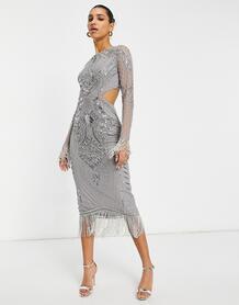 Серебристое платье мидакси с вырезом на спине -Серебристый Starlet 11089989