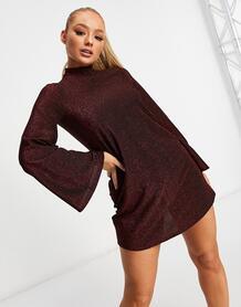 Свободное платье бордового цвета с блестками в стиле 60-х -Фиолетовый цвет Flounce London 11164057