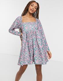 Вельветовое платье мини с квадратным вырезом и мелким цветочным принтом -Черный цвет ASOS DESIGN 10939468