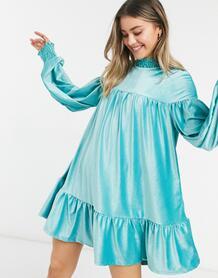 Нефритово-зеленое вельветовое платье мини с присборенной юбкой и высоким воротником -Зеленый цвет ASOS DESIGN 10708526
