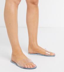 Прозрачные резиновые шлепанцы для широкой стопы -Очистить ASOS DESIGN 9140546