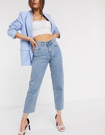 Светлые джинсы прямого кроя с завышенной талией -Синий Lost Ink 9410586