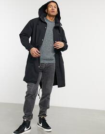 Черная куртка-парка с воротником-стойкой -Черный цвет ASOS DESIGN 10753701