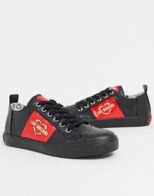 Черные кроссовки с полосками по бокам -Черный Love Moschino 10581043