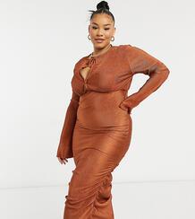 Рыжее платье миди с длинными рукавами, плиссировкой в верхней части и сборками по бокам ASOS DESIGN Curve-Коричневый цвет Asos Curve 10839164