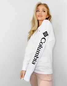 Белая футболка с длинным рукавом North Cascades-Белый Columbia 9695257