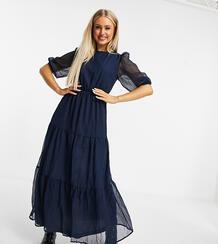 Ярусное платье макси темно-синего цвета -Темно-синий MISSGUIDED 10907650
