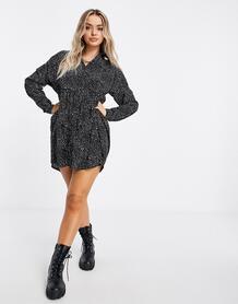 Свободное платье-рубашка с принтом под далматинца -Мульти MISSGUIDED 10908309