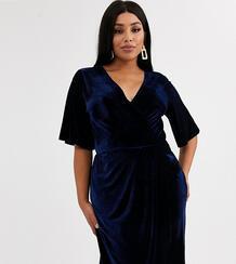Бархатное платье миди с запахом и широкими рукавами -Темно-синий TFNC Plus 9195838