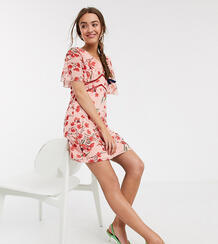 Платье мини с принтом и рукавами клеш -Многоцветный Little Mistress Petite 9723367