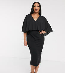 Платье-футляр миди с кейпом ASOS DESIGN Curve-Черный цвет Asos Curve 8901704