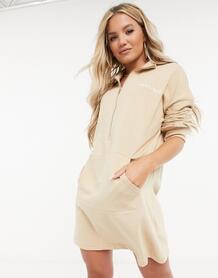 Платье-футболка в стиле oversized светло-бежевого цвета -Бежевый MISSGUIDED 10438898