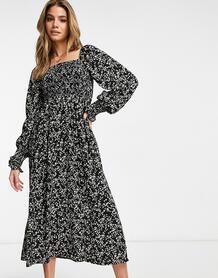 Черное платье миди с цветочным принтом, длинными рукавами и сборками на груди -Черный MISSGUIDED 11146765