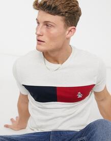 Светло-серая меланжевая футболка со вставками и логотипом -Серый Original Penguin 10466355