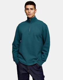 Темно-зеленый свитшот на молнии 1/4 -Зеленый цвет Topman 11864090