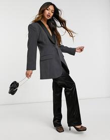 Удлиненное темно-серое платье-блейзер с подчеркнутой линией бедра -Серый ASOS DESIGN 10340847