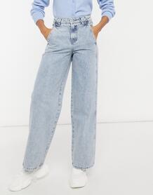 Потертые джинсы в винтажном стиле с завышенной талией и вставками -Голубой Lost Ink 10774835