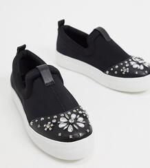 Черные кеды с заклепками wide fit-Черный Simply Be 10451619