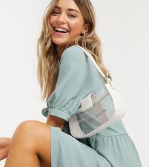 Шалфейно-зеленое платье миди с широкими рукавами -Зеленый цвет Monki 9890700