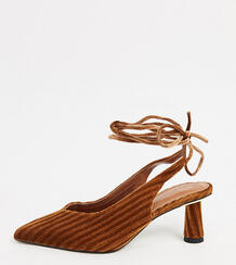Светло-коричневые туфли на среднем каблуке с завязкой Wide Fit-Коричневый цвет ASOS DESIGN 10116605