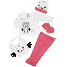 Комплект для новорожденного (распашонка, ползунки, шапка, слюнявчик и царапки) MW15149 MINI WORLD 990452