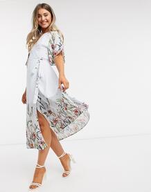 Голубое платье миди с запахом и цветочным принтом -Голубой Liquorish 10095877