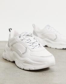 Белые кроссовки на толстой подошве с контрастной строчкой -Белый Bershka 11366910