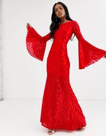 Платье макси с рукавами клеш -Красный City Goddess 9074290
