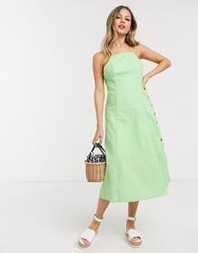 Светло-зеленое платье миди с квадратным вырезом -Зеленый цвет GILLI 9268707