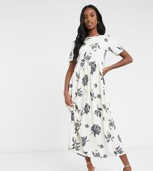 Свободное платье макси с цветочным принтом -Белый Glamorous Tall 10211404