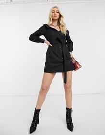 Черное платье-рубашка из поплина с широким вырезом -Черный MISSGUIDED 9467030