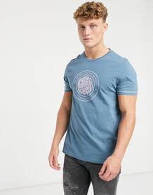 Синяя футболка с логотипом на груди like minded-Синий Pretty Green 10118705