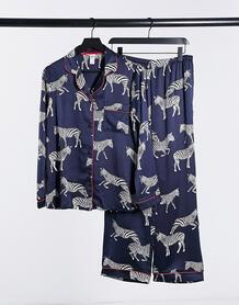 Темно-синий атласный пижамный комплект класса премиум с отложным воротником и принтом зебры Chelsea Peers 11733777