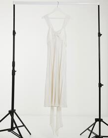 Атласное свадебное платье макси цвета слоновой кости London-Белый GHOST 10769350