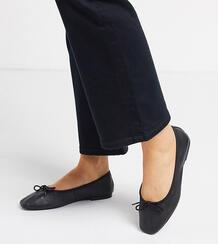 Черные кожаные балетки для широкой стопы с бантами -Черный цвет ASOS DESIGN 9106203