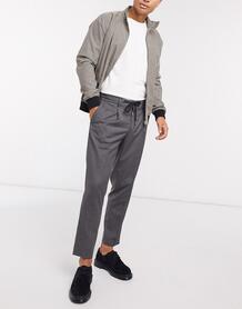 Серые узкие брюки до щиколотки с затягивающимся шнурком на поясе -Серый SELECTED 10439738