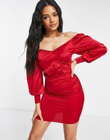 Красное атласное платье мини с запахом и объемными рукавами -Красный Femme Luxe 11002973